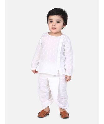 white Jaipuri Front Open Full Sleeve Dhoti Kurta