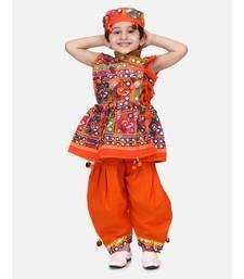 orange Sleeveless Mirror work kedia dhoti set