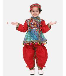 maroon Full Sleeve Leheria Kedia Dhoti Dress For Boys