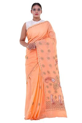 Lavangi Peach Embroidered Lucknow Chikan Cotton Saree with Blouse