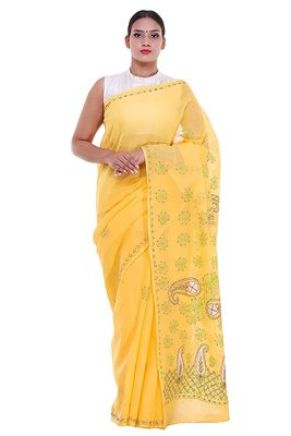 Lavangi Yellow Embroidered Lucknow Chikan Cotton Saree with Blouse