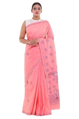 Lavangi Light Gajiri Embroidered Lucknow Chikan Cotton Saree with Blouse