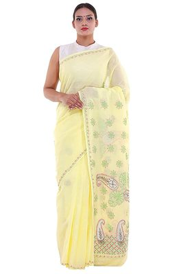 Lavangi Lemon Yellow Embroidered Lucknow Chikan Cotton Saree with Blouse
