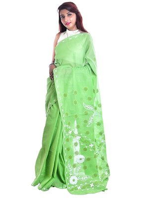 Lavangi Green Embroidered Lucknow Chikan Cotton Saree with Blouse