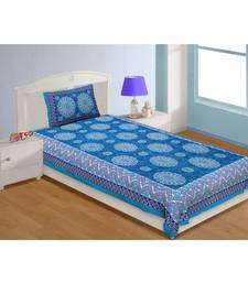 Single Bedsheet Pure Cotton Blue Firozi Border Flower Print Zig Zag Pattern