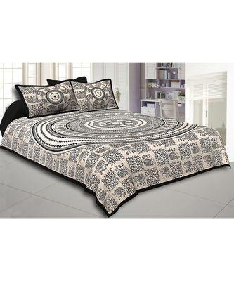 Black Border Cream Base Mandal With Elephant Print Super Fine Cotton Double Bed Sheet