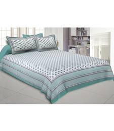 Aqua Green Feathers Double Bedsheet