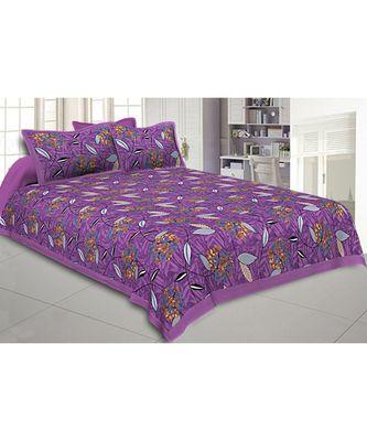 Purple Flowery Double Bedsheet