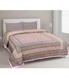 Ethnic Charm Pink Double Bedsheet