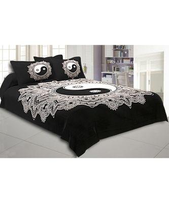 Doordarshan Print Black & White Bedsheet