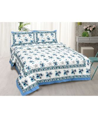 Blue Bunch of Flowers Double Bedsheet
