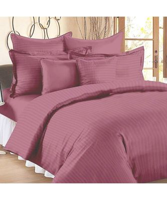 Thulian Pink Self Design King Size Pure Cotton Satin Slumber Sheet for Double Bed with 2 pillow covers