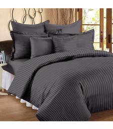 Dark Grey Self Design King Size Pure Cotton Satin Slumber Sheet for Double Bed with 2 pillow covers
