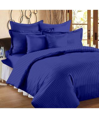 Royal Blue Self Design King Size Pure Cotton Satin Slumber Sheet for Double Bed with 2 pillow covers