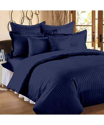 Navy Blue Self Design King Size Pure Cotton Satin Slumber Sheet for Double Bed with 2 pillow covers
