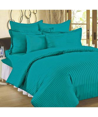Aqua Turquoise Self Design King Size Pure Cotton Satin Slumber Sheet for Double Bed with 2 pillow covers