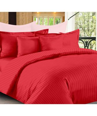 Red Self Design King Size Pure Cotton Satin Slumber Sheet for Double Bed with 2 pillow covers