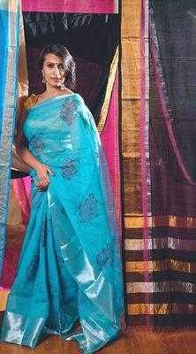 Blue Dancer Block Print Cotton Saree