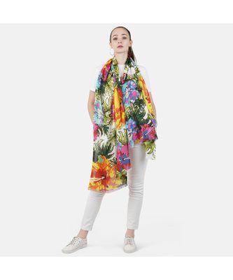 Bali Hai by Pashma  Multi green floral print design scarf