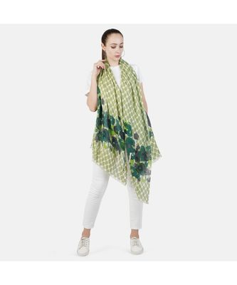 Bali Hai by Pashma  Multi green floral print design Pashmina Scarf