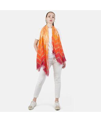 Bali Hai by Pashma Orange abstract print design Pashmina Scarf