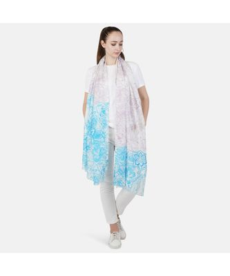 Bali Hai by Pashma  Sky blue floral print design Silk Scarf