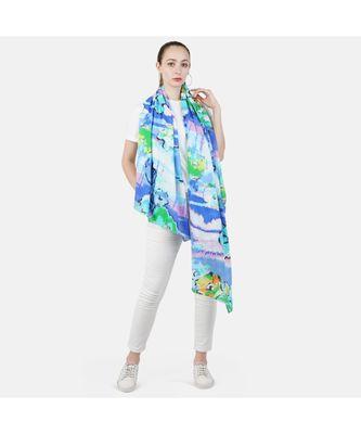 Bali Hai by Pashma  Blue multi floral print design scarf