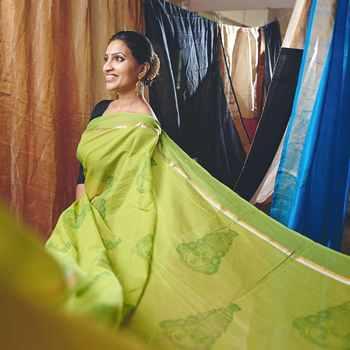 Kathakali Kerala Motif on Green Cotton Saree