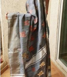 Butterfly Silk Designer Charcoal Grey Handwoven Saree