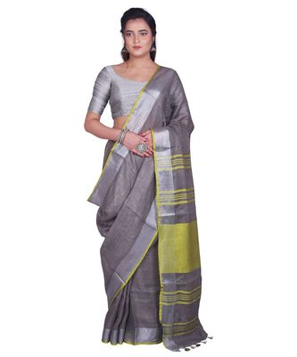 Handcrafted Grey Linen saree with Silver zari border