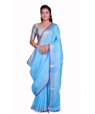 Handcrafted Blue Linen saree with Silver zari border