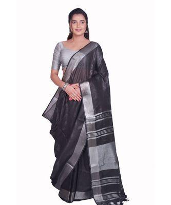 Handcrafted Black Linen saree with Silver zari border