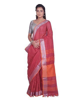 Handcrafted Dark Red Linen saree with Silver zari border