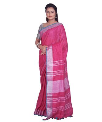 Handcrafted Pink Linen saree with Silver zari border