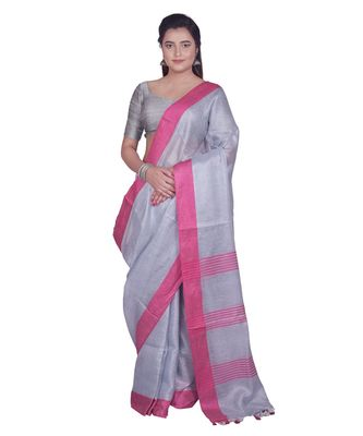 Handcrafted Ash Silver Tissue Linen saree with Pink border