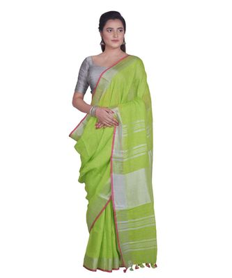 Handcrafted Parrot Green Linen saree with Silver zari border
