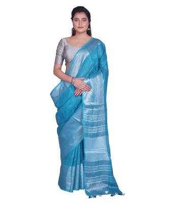Handcrafted Sky Blue Linen saree with Broad Silver zari border