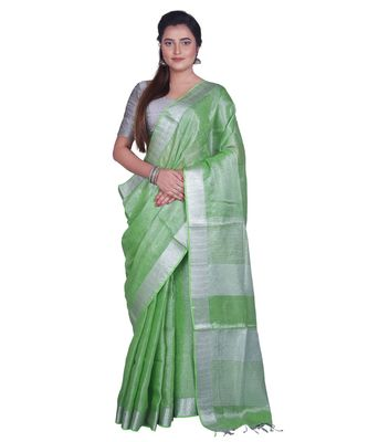 Handcrafted Light Green Silver Tissue Linen saree with silver Zari border