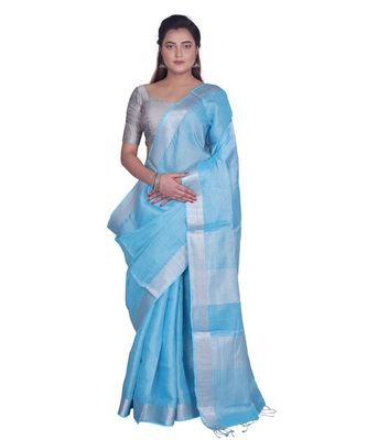 Handcrafted Sky Blue Tissue Linen saree with silver Zari border