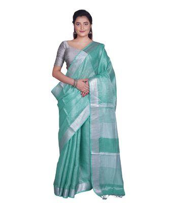 Handcrafted Sea Green Tissue Linen saree with silver Zari border