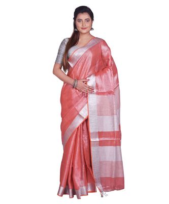 Handcrafted Rust Orange Shade Tissue Linen saree with silver Zari border