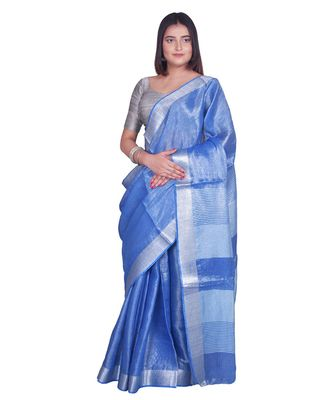 Handcrafted Blue Tissue Linen saree with silver Zari border