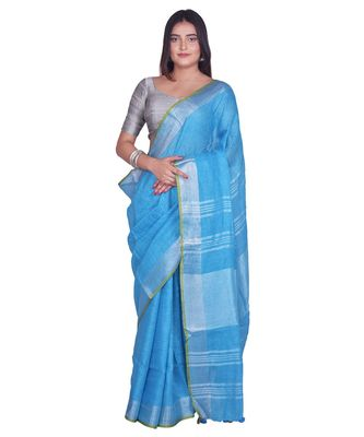 Handcrafted Sky Blue Linen saree with Silver zari border