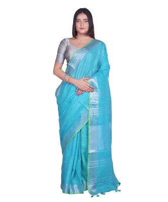 Handcrafted Blue Linen saree with Silver zari border