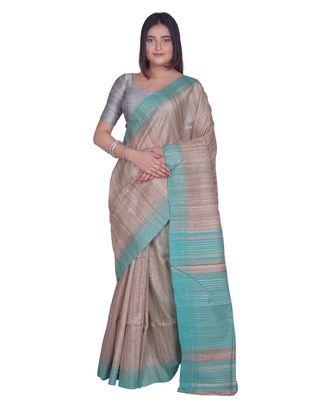 Handcrafted Tussar Ghicha Silk saree with sea green border