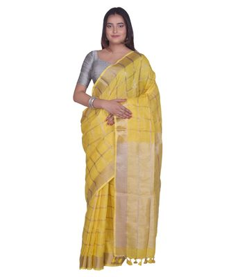Handcrafted Yellow Linen saree with zari Checkered pattern
