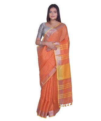 Handcrafted Orange Linen saree with Silver zari border