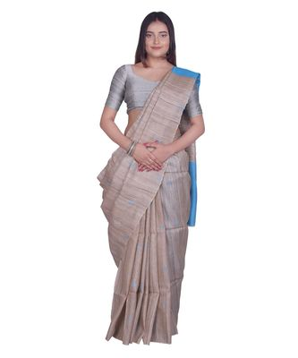 Handcrafted Tussar Ghicha Silk with Blue Shade in Pallu