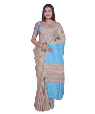 Handcrafted Tussar Ghicha Silk with Light Blue Shade in Pallu
