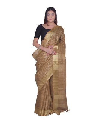 Handcrafted Brown Linen saree with zari small Checkered pattern